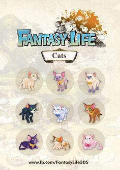 Here is an exclusive look at some of the feline companions you can adopt in Fantasy Life! Aren't they adorable Gaming Tattoo, Life Guide, Fantasy Life, Geek Out, Best Games, Body Art Tattoos, Animal Crossing, Illustration, Nerdy