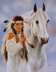 Beatiful young worman and horse - Native American paintings by Maija Native American Paintings, Native American Pictures, Native American Beauty, Indian Pictures, American Indian Art, Native American History, Indian Paintings, American Indians, Indian Artwork