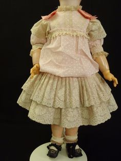 """French Swiss Dot muslin & Cotton Lace Couturier BEBE Dress 22"""" Doll or size 10 in Dolls & Bears, Dolls, Antique (Pre-1930), Bisque, French 