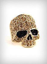 Gold Sinister Sparkles Skull Ring at PLASTICLAND