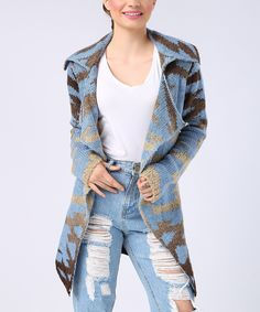 Blue & Beige Abstract Cardigan - by French Town