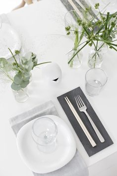 Table setting, grey and green, sushi, girlsnight, stylizimo blog