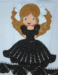 Resultado de imagem para croche vestido boneca pano de prato