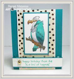 Art Impressions Ai ZooCrew Buzzard Set (Sku#4194) : Bluebird of Happiness. Handmade masculine birthday card