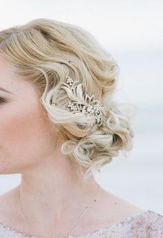 1920's-inspired hairstyle, wedding hair ideas, gold and diamond pin, flapper beauty looks // Jonathan Fanning Studio & Gallery