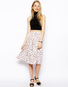 ASOS Midi Skirt In Heart Print With Pockets
