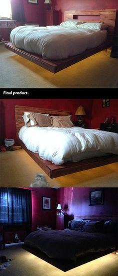Photo instructions for a levitating bed frame