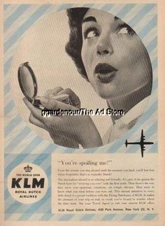 1958 KLM Royal Dutch Airlines~You're Spoiling Me~50s Ad MyAdStore.net