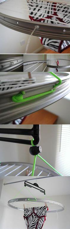 Tendedero compacto reciclando una llanta de bicicleta
