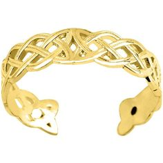 14k Yellow Gold Celtic Knot Weave Design Cuff Style Adjustable Toe... ($62) ❤ liked on Polyvore featuring jewelry, yellow, yellow gold jewelry, 14k yellow gold jewelry, polishing gold jewelry, gold jewellery and cuff jewelry