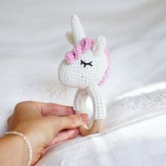 My first unicorn rattle was finished for dear justina ❤ ⭐☄☺ Danish pattern @ vibemai Crochet Ring Patterns, Crochet Rings, Newborn Toys, Baby Toys, Handmade Baby, Handmade Toys, Crochet Unicorn Hat, Newborn Crochet, Baby Rattle