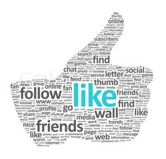 'Illustration of the thumb up symbol, which is composed of words on social media themes'