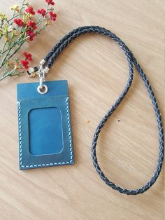 Leather ID Card Holder, ID Card Holder, Leather ID Badge Holder with braided leather Lanyard by StarlightHandmade on Etsy