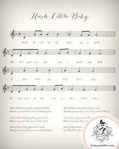 Instant Lullaby Sheet Music Nursery Prints Hush Little Baby