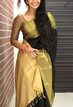Mystic Black saree blouse and style Designer Silk Sarees, Indian Designer Wear, Womens Western Wear Dresses, Onam Saree, Saree Accessories, South Indian Sarees, Simple Sarees, Designer Blouse Patterns, Stylish Sarees