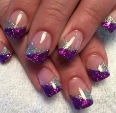 Glitter Nails - Wedding Makeup For Fair Skin Purple Nail Art, Purple Nail Designs, Gel Nail Designs, Cute Nail Designs, Purple And Silver Nails, French Nail Designs, Sparkle Nails, Glitter Nails, French Nails
