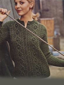 4ea54aface4142 Lots of free Aran patterns...Ladies Vintage Aran Jacket with Button Detail