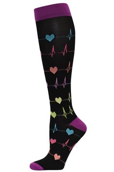 Hearts EKG Compression Sock - 94672  Get your heart pumping with these clever EKG fashion socks that are great for reducing discomfort and swelling at the feet.