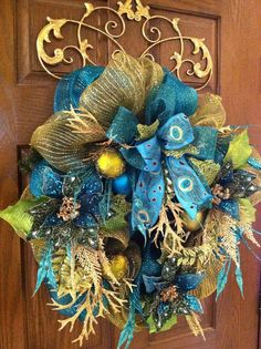 Jeweled Turquoise Poinsettia Wreath Christmas by GreatwoodFlorals