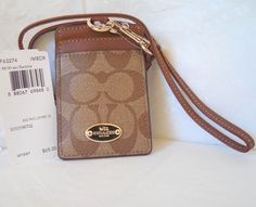 Coach Coach Signature C PVC Canvas Leather Khaki Saddle Lanyard, Badge ID Credit Card Holder, NWT 63274 ($65)
