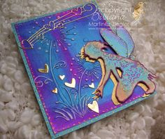 by Stamping with Bibiana: Bright Colors for Lavinia Challenge # 7 using Shaylee stamp from Lavinia and silks acrylic paints from luminarte details at my blog