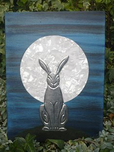 Art by Samantha Marks (Willow Creations). Luna Hare - Original mixed media on canvas. Pewter Hare and Mother of Pearl Moon.