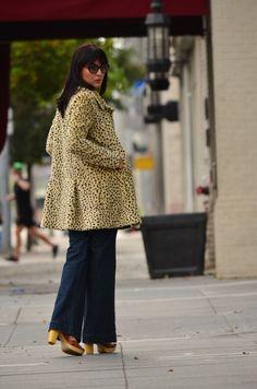 So '70s - Audrey is a Boy –  #flarelegjeans #leopardcoat #platformsandals