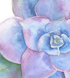 Purple Succulent watercolor painting print by SusanWindsor. www.susanwindsor.com