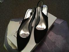 6ec4e12f Black faux suede sling back kitten heel shoes size 6 - Kitten Heels from Ebay  UK - #KittenHeels #heels 12.00 (0 Bids) End Date: Friday Mar-8-2019 17:33:55  ...