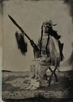 Lakota Woman in 1876 Style Clothing with Lance and Scalp. Marie Bird-In-Ground. Plains Indians, Native American Women, Sioux, Narnia, Vintage Photos, Nativity, The Past, Statue, Bird