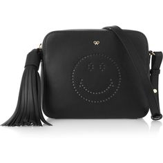 Anya Hindmarch Smiley perforated leather shoulder bag ($795) ❤ liked on Polyvore featuring bags, handbags, shoulder bags, black, crossbody, black shoulder bag, leather shoulder handbags, black handbags and leather purse