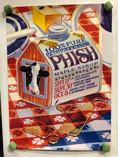 Original concert poster for Phish West Coast Tour (Shoreline Amphitheatre - Mountain View, CA, Cal Expo - Sacramento, CA, Adams Fieldhouse - Missoula, MT) in 1995. Artwork by Christopher Peterson. 20 x 28 inches.