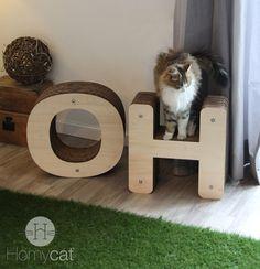 OH le réveil est difficile !  Mobilier déco pour chats en forme de lettres - Griffoirs - Cabanes - Promontoir