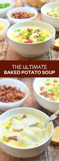Ultimate Baked Potato Soup loaded with potato chunks bacon bits green onions shredded cheese and sour cream plus a thick creamy broth you'd want to dive into! Hearty and delicious it's the ultimate comfort food! Chili Recipes, Soup Recipes, Dinner Recipes, Fall Recipes, Baked Potato Soup, Slow Cooker Soup, Homemade Soup, Bacon Bits, Recipes