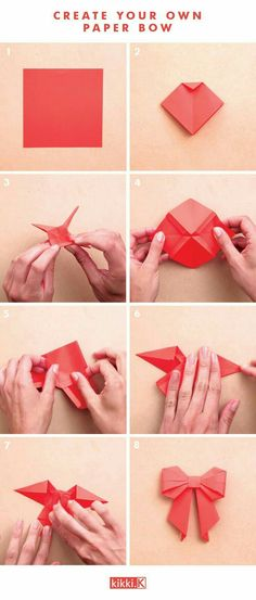 Get Creative with this DIY Paper Bow Decorate your gifts with this gorgeous DIY origami paper bow. Click through to see how to make it. If you have a passion for arts and crafts you actually will love this cool info! Kids Crafts, Diy And Crafts, Arts And Crafts, Diy Paper Crafts, Paper Folding Crafts, Easy Origami For Kids, Easy Oragami, Easy Origami Tutorial, Paper Crafts