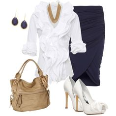 Navy, brown and white. Somehow it works for me! Sharp work outfit!    >>>Fall womens outfits via polyvore
