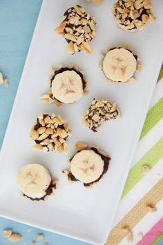 a perfect small-sized, chocolate treat for zealous little sweet tooths: Chocolate Bananas bites from Weelicious