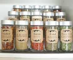 Dollar Store Spice Jar Organization- Get your spices organized quickly and easily with these great spice cupboard organization ideas! Spice drawer organizing tips also included!