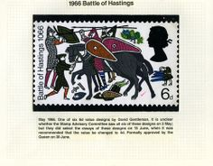 QEII 1966 Anniversary of Battle of Hastings stamp: Submitted design by David Gentleman, May 1966. (QEII/53/013)