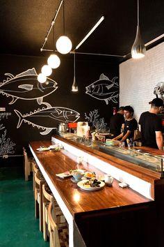 Deco Restaurant, Restaurant Lounge, Restaurant Concept, Seafood Restaurant, Tokyo Restaurant, Japanese Restaurant Design, Restaurant Interior Design, Cafe Interior, Sushi Bar Design