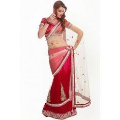 Shop Now - http://www.valehri.com/embellished-off-white-lehenga-style-saree