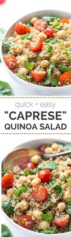 Caprese Quinoa Salad with tomatoes, basil and chickpeas | recipe on simplyquinoa.com