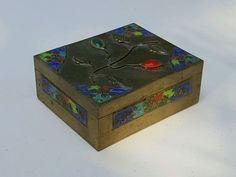 Vtg Chinese BRASS Trinket BOX w/ Inlaid GEMSTONES Marked CHINA ~ Cigarette Box #Chinese #Box #Gems