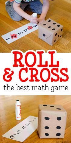 Roll and Cross Math Game: The best math game - my kids love this easy math activity! The best math game around! Check out this roll & cross math game that toddlers and preschoolers will love. Works on counting skills and number recognition. Easy Math Games, Math Games For Kids, Preschool Games, Preschool Classroom, Math Games For Preschoolers, Number Games For Toddlers, Math For Kindergarten, Learning Numbers Preschool, Toddler Preschool