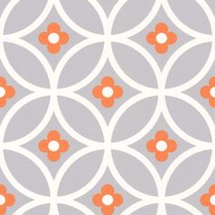 An all over design featuring a large scale, floral tile effect design with coloured centre detailing exclusive to Wallpaperdirect by Layla Faye. Backsplash Wallpaper, Bathroom Wallpaper, Home Wallpaper, Kitchen Backsplash, Hallway Wallpaper, Wallpaper Ideas, Living Room Nook, Dining Room, Orange Wallpaper