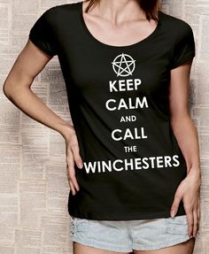 Supernatural fan tee with print Keep calm and call the Winchesters #Etsy #handmade #fashion