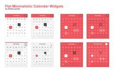 Flat Minimalistic Calendar Widgets by Ondrej Lechan on Creative Market