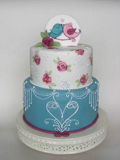 Birds in love cake