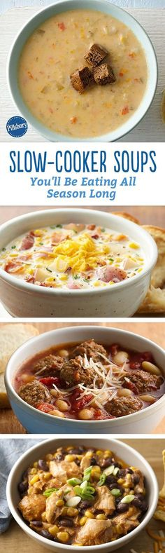 Cheesy potato soup You know what we love more than a bowl of steaming, heart-warming soup? A bowl of steaming, heart-warming soup that practically makes itself. Introducing: our favorite slow-cooker soups that you can eat until it warms back up! Crockpot Recipes, Soup Recipes, Dinner Recipes, Cooking Recipes, Healthy Recipes, Chicken Recipes, Recipies, Crock Pot Slow Cooker, Crock Pot Cooking