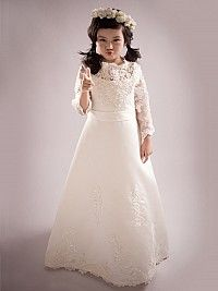 Ivory Long Sleeved Satin A Line Flower Girl Dress with Lace Bodice